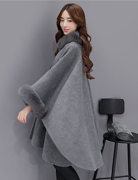 Women's Daily Street Chic Fall / Winter Long Cloak / Capes, Solid Colored Crew Neck Long Sleeve Wool / Acrylic / Polyester Camel / Gray  #06390871 by Lightinthebox