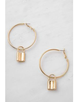 Padlock Drop Hoop Earrings by Urban Outfitters
