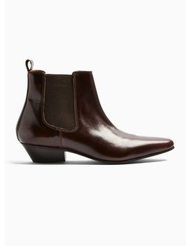 Burgundy Leather Hendrix Chelsea Boots by Topman