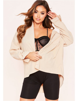 Joyce Beige Cord Oversized Shirt by Missy Empire