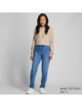 Women Pile Lined Denim Jersey Pants by Uniqlo