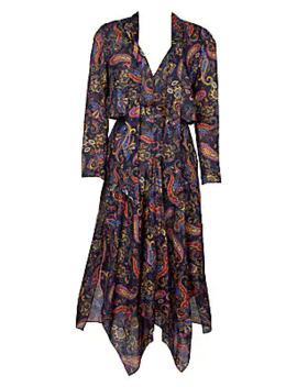Rista Paisley Handkerchief Midi Dress by Maje