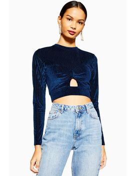 Blue Cut Out Long Sleeve Ribbed Velvet Top by Topshop