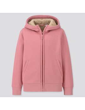 Kids Fleece Lined Long Sleeved Zipped Hoodie by Uniqlo