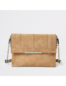 Beige Leather Zebra Print Underarm Bag by River Island