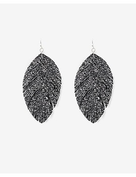 Glitter Feather Statement Earrings by Express