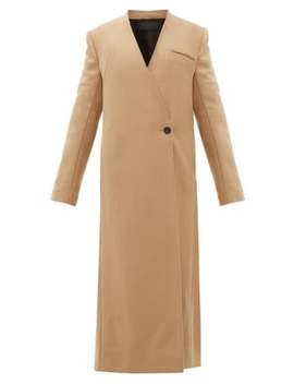 V Neck Wool Blend Twill Long Line Coat by Haider Ackermann