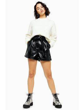 Petite Black Faux Leather Crocodile Pu Belted Shorts by Topshop