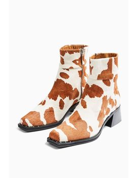 Mystic Cow Print Square Toe Boots by Topshop