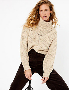Cable Knit Roll Neck Relaxed Fit Jumper by 35 Days To Return
