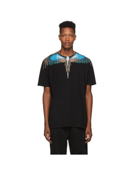 Black Turquoise Wings T Shirt by Marcelo Burlon County Of Milan