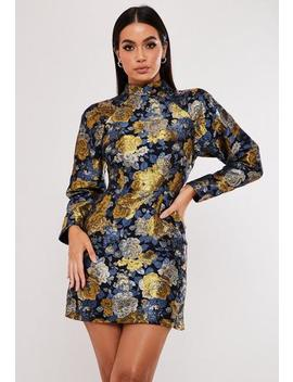 Navy Floral Brocade High Neck Mini Dress by Missguided