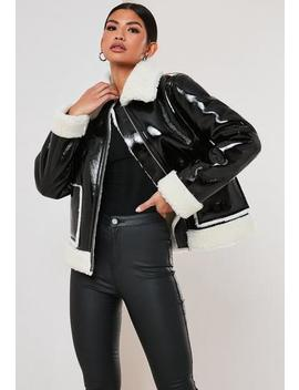 Black Vinyl Faux Fur Aviator Jacket by Missguided