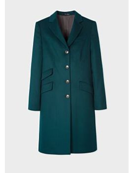 Women's Dark Teal Four Button Wool Cashmere Epsom Coat by Paul Smith