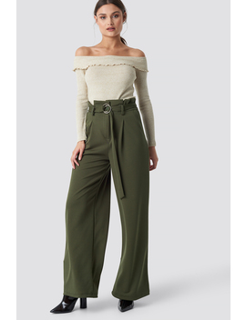 Belted Paperbag Trousers Groen by Trendyol