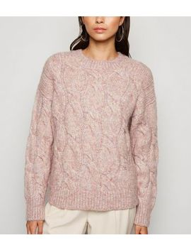 Pale Pink Cable Knit Jumper by New Look