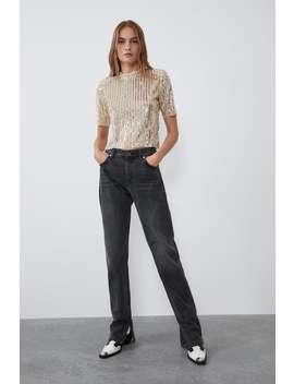 Shirt Mit Pailletten Und Schulterpolster by Zara