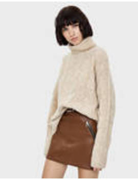 Pleciony Sweter Z Golfem by Bershka