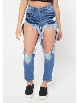 Medium Wash High Waisted Shredded Mom Jeans by Rue21