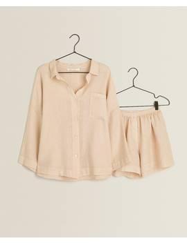 Kurzer Leinenpyjama  Damen   Kleidung   Kleidung   Schlafzimmer by Zara Home