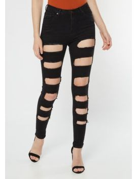Black High Waisted Cutout Distressed Jeggings by Rue21