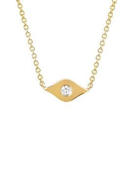 14 K Yellow Gold Diamond Evil Eye Pendant Necklace   0.06 Ctw by Ef Collection