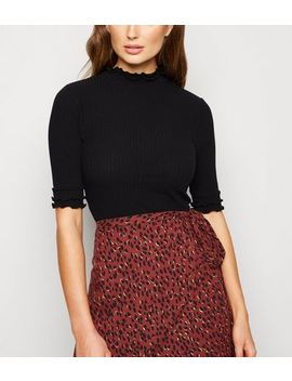 Black Ribbed Frill Trim T Shirt by New Look