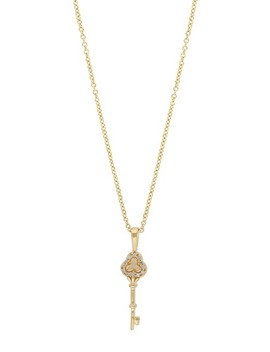 Yellow Gold Plated Sterling Silver Pave Diamond Key Pendant Necklace   0.04 Ctw by Carriere