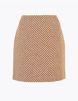 Herringbone Weave A Line Mini Skirt by Standard Tracked Delivery