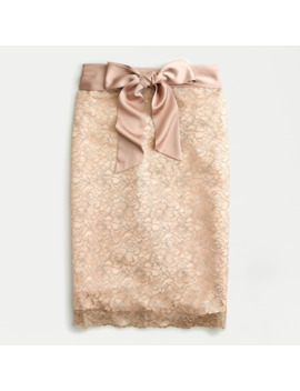 Satin Bow Skirt In Metallic Lace by J.Crew