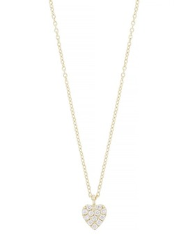 18 K Yellow Gold Diamond Petite Pave Heart Pendant Necklace   0.07 Ctw by Bony Levy