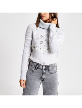 Grey Fairisle Embellished Knitted Jumper by River Island