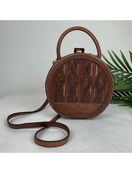 Vintage Etienne Aigner Genuine Leather Round Basket Weave Purse by Etienne Aigner