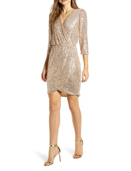 X Glam The Motherchic Sequin Faux Wrap Holiday Dress by Gibson