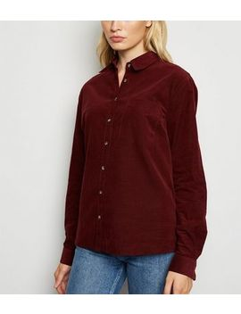 Burgundy Corduroy Long Sleeve Shirt by New Look