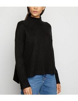 Black Ribbed High Neck Jumper by New Look