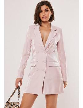 Silver Satin Covered Button Blazer Dress by Missguided