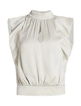 Sleeveless Pleated Silk Mockneck Blouse by Frame