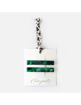 Emerald Resin Hair Clips by Orelia