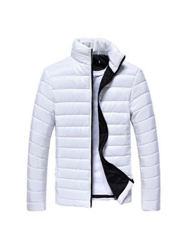 Men's Winter Warm Plus Size Zipper Stand Collar Parka Coat Long Sleeves Jacket by Unbranded