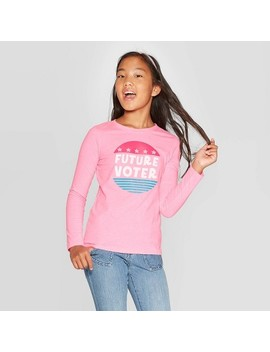 Girls' Long Sleeve Future Voter Graphic T Shirt   Cat & Jack™ Bright Pink by Cat & Jack