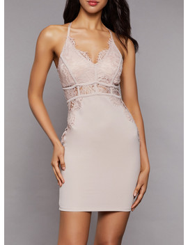 Lace Detail Bodycon Dress by Rainbow