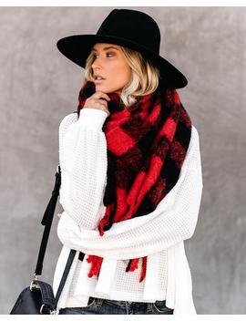 Shasta Plaid Blanket Scarf   Red by Vici