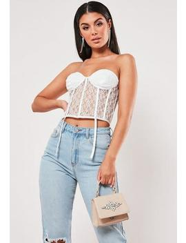 White Lace Suspender Bandeau Top by Missguided