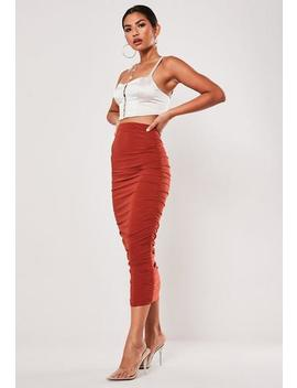 Petite Red Slinky Ruched Midi Skirt by Missguided
