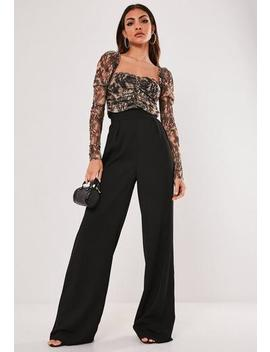 Petite Black Wide Leg Pants by Missguided