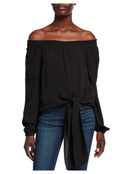 Michael Michael Kors Tie Front Off The Shoulder Long Sleeve Top by Michael Michael Kors