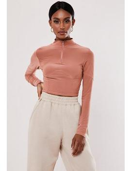 Rose Slinky Zip Front Corset Crop Top by Missguided