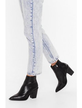 Snake You Mine Faux Leather Pointed Boots by Nasty Gal