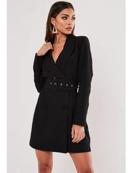 Black Self Belted Blazer Dress by Missguided